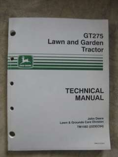 John Deere GT275 Lawn garden Tractor technical manual