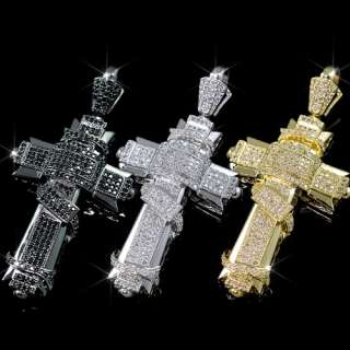 Mens Black/Silver/Gold Plated Bling Cross Pendant Iced Out Hip Hop