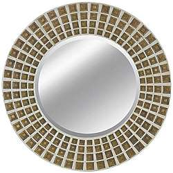 Round Framed Rustic Silver and Gold Mirror