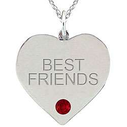 Birthstone Garnet BEST FRIENDS Heart Necklace