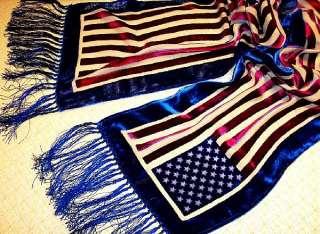American Flag Silk Velvet Scarf Wrap Maya Matazaro Frng