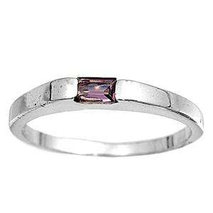 Sterling Silver Womens Kid Baby ring size 1 Purple CZ