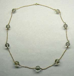 Genuine Quartz 14K Yellow GOLD Chain Necklace