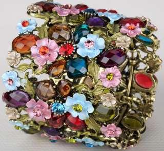 Vintage multi swarovski crystal flower cuff bracelet 28