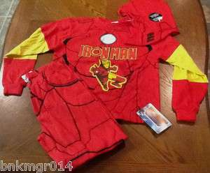 NWT Youth Marvel Iron Man 3 pc Red & Yellow Pajama Set Different Sizes