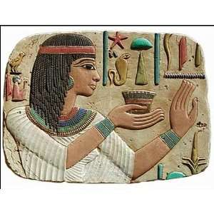 Egyptian Princess Making Offering Wall Relief, Color Details