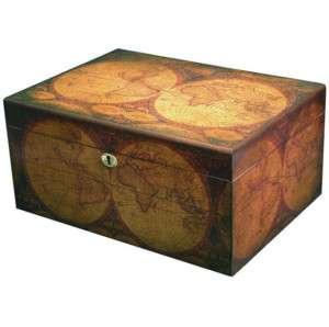 Old World Map 100 Cigar Desktop Humidor
