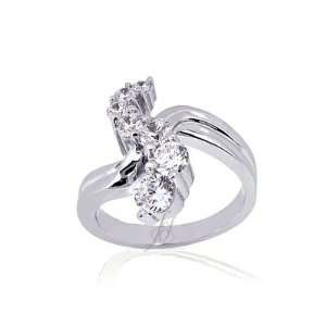 Round Cut Diamond Open Intertwined Fashion Ring 14K WHITE GOLD SI2 H