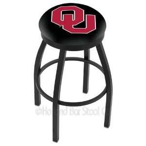 Oklahoma Sooners Logo Black Wrinkle Swivel Bar Stool with Flat Accent