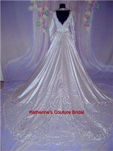 Wedding Dress Bridal sz 10 Gown #12 In Stock Cathedral White Satin