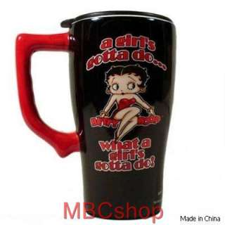 Betty Boop Ceramic Coffee Latte Travel Mugs, Java Cups, Plastic Lid