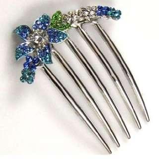 SHIPPING 1pc rhinestone crystal flower French twist hair comb