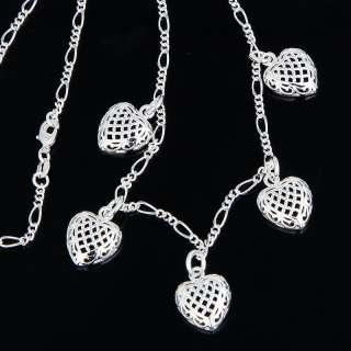 Fine Silver Plate 5 Heart Dangle Pendant Chain Necklace