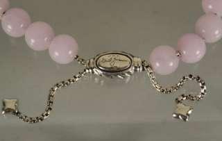 David Yurman 925 Sterling Silver Rose Quartz Bead Bracelet