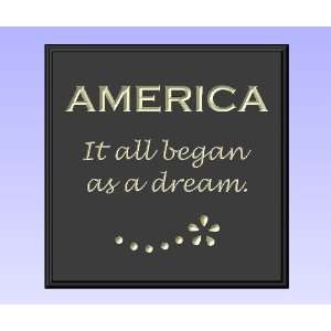 Decorative Wood Sign Plaque Wall Decor with Quote AMERICA It all