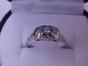 Antique 18K White Gold .15ct VS/G Diamond Filigree Ring ,ART DECO