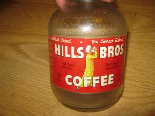 Vintage Hills Bros Grind Coffee Glass Jar