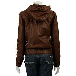 Miss Sixty Womens Faux Leather Jacket with Hood