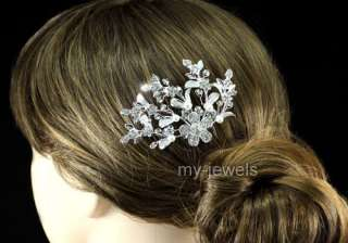 Bridal Wedding Flower White Faux Pearl Hair Comb T1357