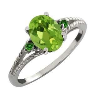 1.39 Ct Oval Green Peridot and Green Diamond Argentium