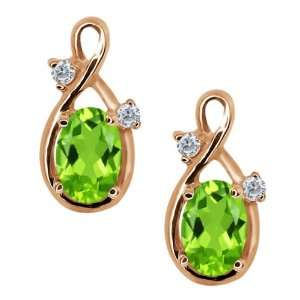 1.08 Ct Oval Green Peridot and Diamond Gold Plated