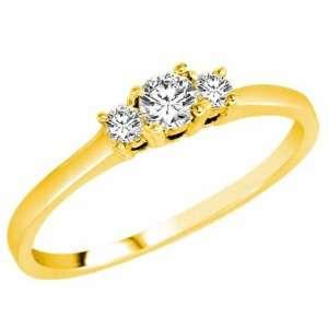 10K Yellow Gold 3 Three Stone Round Brilliant Diamond Ring