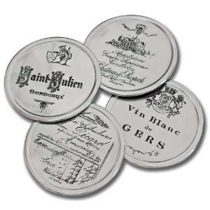 America Retold Etched Wine Coasters, Set of 4 Kitchen