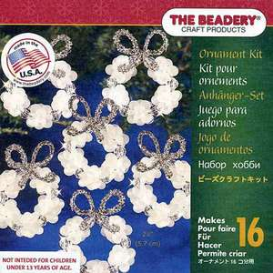 Beaded Christmas ORNAMENT KIT Makes 16 FROSTED WREATHS