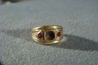 ANTIQUE 12 K YELLOW GOLD FILL RED TOPAZ RING SETTING