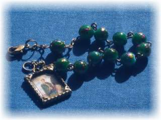 Handmade St Patrick   8mm Glass Irish Rosary Bracelet