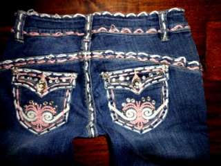 Miss Chic Super Stra USA Jeans Wear Thick Pink Stitch Crystal Studded