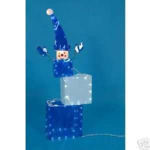 Cube Snowman with Lights   Christmas Yard Decoration