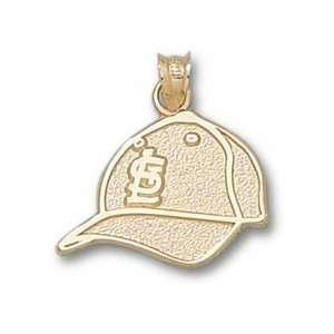 St. Louis Cardinals STL and Baseball Cap Pendant   10KT
