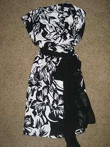 Black Market Dress Lined Floral Sash Strapless Straps optional