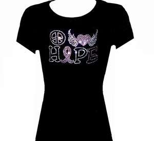 RHINESTONE(BREAST CANCER RIBBON) JR SIZE TSHIRT,BLACKS SIZE:S,M,L,XL