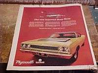 1968 PLYMOUTH ROAD RUNNER CAR ORIGINAL AD FROM MAGAZINE