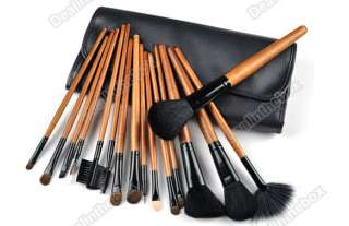 Make Up Salon Cosmetic Brush Set Kit Brown+ Rollup Black P ouch Bag