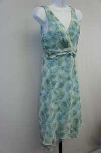 Karin Stevens Petites Blue/Green Floral/Paisley Dress 6