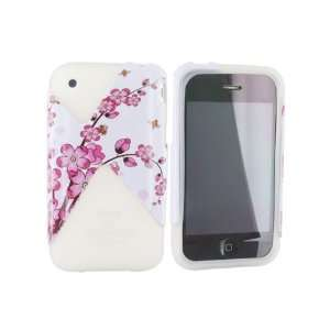 For iPhone 3Gs Plastic Case on Silicone Case Flowers