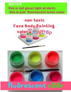 Makeup Face Body Painting fluorescent color10ml*6★party