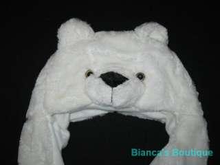 Girls Boys Winter Hat Ear Flap Animal Critter Scarf w/ Mittens
