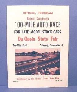 1960 USAC Du Quoin, IL 100 Mile Stock Car Race Program