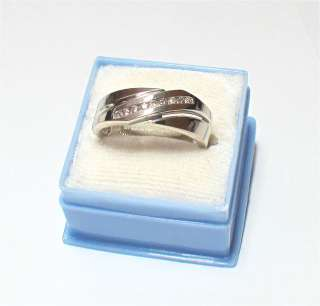 Solid 14k White Gold Natural Diamond Mens Ring 7.5 grams 9.25