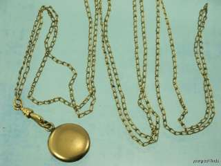 VICTORIAN ROSE GOLD OVER BRASS LONG LADIES WATCH CHAIN & LOCKET