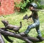Large Cast Bronze Children w/ Water Guns Water Fountain