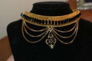 EDWARDIAN VICTORIAN NECKLACE CHOKER EARRING SET BLACK GLASS GOLD