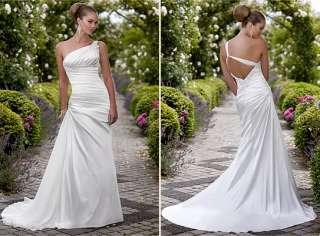 white satin Wedding bridal Dress formal gown A Line zipper custom made
