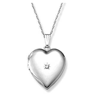 14k White Gold Heart Locket Necklace with Diamond Accent, 18 Jewelry