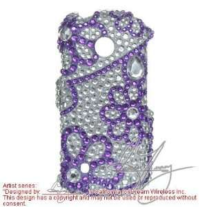Protector Case for LG Cosmos VN270, Purple Lace Flowers Full Diamond