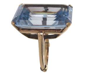 50 ct Blue Topaz Emerald Cut 10K Gold Ring